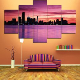 Wholesale Canvas Paint Beach - Living Room Bedroom Spray Painting Wall Decorative Painting Beach Sunset Natural City Landscape Wall Decor Paints Unframed 5 Panels
