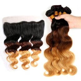 Wholesale Cheap Ombre Human Hair - 9A Cheap Lace Frontal Closure 13x4 With Three Tone 1b 4 27 Honey Blonde Ombre Body Wave Human Hair 3 Bundles 4Pcs Lot