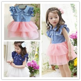 Wholesale Cute Jean Dresses - 2016 Fashion Children jean dress Hot sell summer baby girls cowboy tulle tutu dress kids petal sleeve dress cute pink white DRG28
