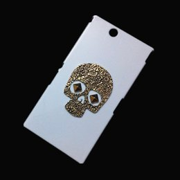 Wholesale Xperia Z Protective Cover - 3D Punk Rivet Stud Studded Case Retro Metallic Bronze Skull Hard Back Protective Skin Cover for Sony Xperia Z Ultra XL39H