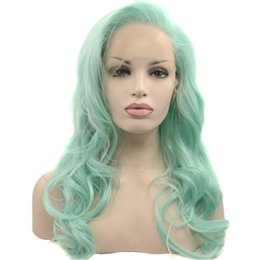 Wholesale Green Wavy Long Synthetic Wig - Glueless High Temperature Heat Resistant Fiber Hair Long Wavy Mint Green Synthetic Lace Front Wig for Drag Queen