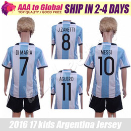 Wholesale Argentina Football Shirt Soccer - Argentina kids kit best thai soccer jerseys 16 17 Euro Cup children Argentina football shirts 2017 boys camisa de futebol Argentina uniforms