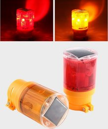 Wholesale Red Emergency Led - LED solar traffic warning light + 6 Led flashing+ light-operated for traffic,construction,airport beacon emergency warning