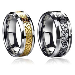 Wholesale Celtic Dragon Wedding Rings - Valentine's Day Vintage Gold Dragon Tungsten steel Ring for Men lord Wedding Titanium rings Band new punk ring