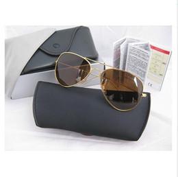 Wholesale Glasses Aviator Case - New Aviator Men Sunglasses High Quality Glasses Lenses Metal Frame Sun Glasses Brand Design driver Sport Eyewear Pilot Original Case Box