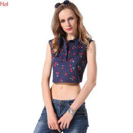 Wholesale Cherry Crops - Summer Sexy Women Shirt Tees Cherry Print Crop Tops Sleeveless Turn Down Collar Blouse Fashion Slim Vintage Shirt Blue YC000304