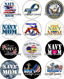 Wholesale Navy Charms - Free shipping NAVY MOM glass Snap button Charm Popper for Snap Jewelry good quality 12pcs   lot Gl381 jewelry making