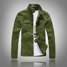 Wholesale Vintage Denim Jackets - 2016 Autumn New Stretch White Green Denim Jacket Men Fashion Slim Fit Korean Style Denim Men's Vintage Jeans Jacket US size XS S M L XL