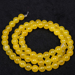 Wholesale animal jewellery beads - 4 6 8 10 12 14mm Natural Yellow Agate Beads Round Loose Stone Beads 15inches DIY Jewellery Bracelet Necklace Making Gem Stone