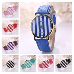 Wholesale Geneva Stripes Watch - Geneva gold vertical stripes women watches,classic fashion Quartz wrist watches 10 colors strap watch GTPH2