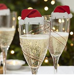 2019 grandi sacchetti di santa all'ingrosso 200 pezzi di torta di natale segno bandiera bicchiere di vino bandiera stuzzicadenti bottiglia decorazione cappello santa claus alce decorazioni natalizie