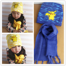 Wholesale pokemon gift set - Poke Mon GO Pikachu Hat & Scarf Set Warm Winter Boys Girls knitted Cap Beanie Hats Caps Long Scrarves for 3-10 years Old Kids Christmas Gift