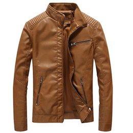 Wholesale Hiphop Leather Jackets - HipHop Bomber Jackets Men's Clothing Male Leather Jacket New Fashion Casual Pilot Overcoat Homme Solid Cool Jacket