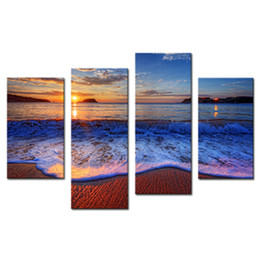 Wholesale framed office wall art - Amosi Art-4 Pieces Sea Beach Canvas Prints Wall Art Decor Modern Sunshine Sea Wave for Home and Office Decoration with Wooden Framed