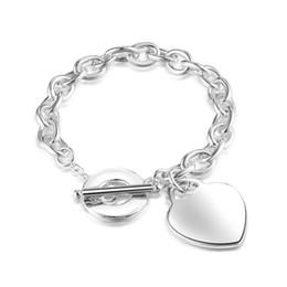 pulseiras de fantasia para as mulheres Desconto Frete grátis das mulheres fantasia jóias rodada elo da cadeia com coração polido tag pulseira 8