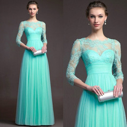 Wholesale Turquoise Lace Dress Cheap - Turquoise Bridesmaid Dresses Cheap 2017 Hot Sale Long sleeves Lace Jewel Neck Evening Gowns Floor Length Formal Long Chiffon Prom Dress