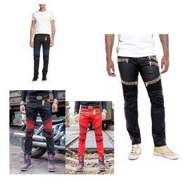 Wholesale Beading Jeans - 2016 New rock biker jeans men Elastic Slim denim Jeans high fashion designer famous brand rock mens jeans us size 30-42