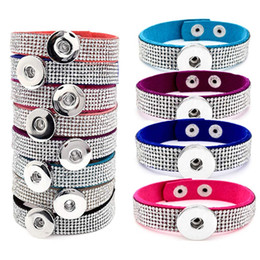 Wholesale Black Onyx Silver Jewelry - Newest Noosa chunk full crystal bracelets snap button rhinestone leather bracelet ginger snap jewelry new arrival hot sale 8 colors