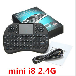 Wholesale Mini Bluetooth Touchpad - Top Quality mini i8 Wireless Keyboard 2.4G RII rechargeable battery Touchpad Remote Control bluetooth Fly Mouse PC Pad Andriod TV Box Xbox36