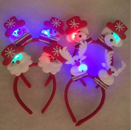Wholesale Party Suppl - LED Bunny Ear Head Hair Band Sticks Costume Flashing Easter Bunny Ears Hoop Hot For Christmas party Snowman Elk Santa Claus Xmas Party Suppl