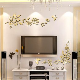 Wholesale Wall Decor Stickers Black Flowers - mirror wall stickers silver Creative Home Decor DIY Diagonal flower Carved bedroom Removable Decorate art Sticker 2017 3d stickers wholesale