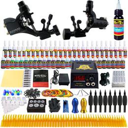 Wholesale Rotary Machine Tattoo Set - Starter Beginner Complete Tattoo Kit Professional Tattoo Machine Kit Rotary Machine Guns 54 Inks Power Supply Needle Grips Set tk255
