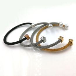 Wholesale open cuff bracelets - Jewelry Spanish Brand New Fashion Luxury Women Stainless Steel gold silver pearl opening cuff bangle bracelet no fade panda pulseras osos