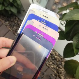 Wholesale Iphone Screen Multicolor - For iPhone 7 plus colorful Electroplating tempered glass mirror screen protector front and back film for iphone 7 6 6s plus Multicolor