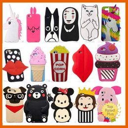 Wholesale Blackberry Case Cartoon - For iPhone 7 3D Cute Animals Cartoon Soft Silicone Case Cover Back Skin For iPhone 5 6 6s Plus Samsung S7 Note LG