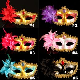 Wholesale Masquerade Designs - 13 Design Masquerade Masks Venetian Face Mask Fashion Lily Flower Crystal Rhinestones Party Decoration Halloween Christmas Gift HH7-156