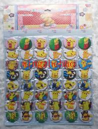 Wholesale Free Pin Buttons - New 2 sheets 96 pcs Pikachu Poke Badge Button Pin 4.5 CM party favor Free Shipping