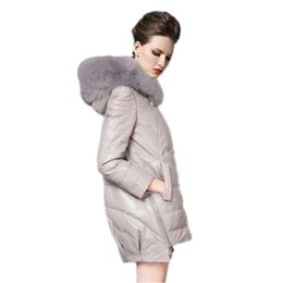 Wholesale Fox Fur Strips - 2018 new Real fox fur collar down jacket winter hot style of high quality profile Winter white duck down coat jacket Bomber jackets