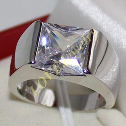 Wholesale Silver Square Bezel Ring - Men's Eternity 925 Silver Square Diamond Simulated CZ Stone Solitaire Ring
