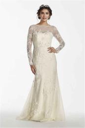 Wholesale Long Sleeved Mermaid Wedding Dresses - Scoop Neckline Long Sleeved Lace Applique Wedding Dress MS251113 Deep V-Back Mermaid Bridal Dress