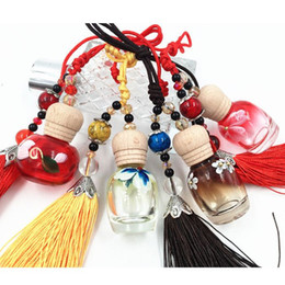 Wholesale Wholesale Home Fragrance Oil - Handpainting Multi Color 10ml Refillable Glass Perfume Bottle Pendant Fragrance Oil Bottle with Tassel Refillable Home Decoration 10pcs lot