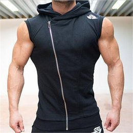 Wholesale trend hoodie - Wholesale-2016 New Fashion GYM sleevelessHoodies MenSleeveless vest Print vest Men Trend Sport Suits Set Mens Hoodies And Sweatshirts
