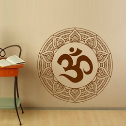 Wholesale Indian Wall Stickers - Mandalas Om Symbol Wall Stickers Indian Style Vinyl Art Wall Decal Home Stickers Removable Modern Design