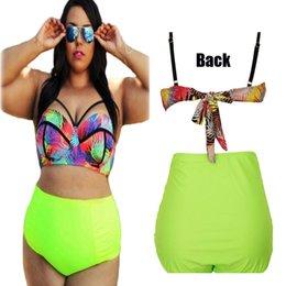 Wholesale Sexy Swimwear Big Women - Extra Plus size Fat Lady Sexy Women Floral Bikini Set High Waist Big Bra Swimwear Two Piece Separate Slim Bathing Suit 2016