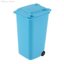 Wholesale Novelty Pen Holders - Wholesale-Novelty Fashion Plastic Office Desktop Stationery Organizer Mini Wheelie Bin Desk Tidy Pen Holder Pencil Case-blue