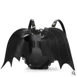 Wholesale bag bats - 2015 new arrival black bat wings women backpack pu leather school bag travel bags cheap price wholesale