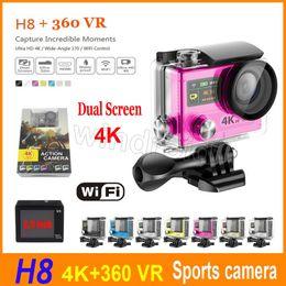 Wholesale Mini Dvr Screen - H8R H8 Ultra 4K HD 2 inch 170° 360 VR HDMI WIFI Action Cameras Dual Screen Waterproof Sports Camera Mini DV DVR + Retail package colorful 5