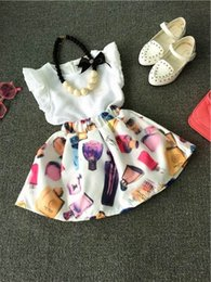 Wholesale Necklace Shirt Girls - 2016 Girl Summer Sets Flare Sleeve Shirts+Floral Skirt 2pcs Fashion Sets Children Clothing 2-7T TZ774 Not Have Necklace