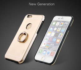 Wholesale Iphone Hold Case - Motomo TPU+PC+Metal +Ring hold stand Hard Back Cover Brush Cases for iPhone 5 6 7, 6plus 7plus