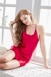 Wholesale Hot Women Nightdress - Wholesale- 2017 New Summer Women Faux Silk Nightwear Fashion Women's Rayon Nightdress Sexy Hot Mini Hot Nightgowns & Sleepshirts