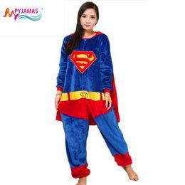 Wholesale Cartoon Onesies For Adults - New Superman Unisex Adult Flannel Hooded Pajamas Cosplay Cartoon Cute Animal Costumes Onesies Sleepwear For men WoMan