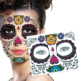 Wholesale Skull Arm - 1PCS Waterproof Fake Temporary Tattoos Sticker Skull Face Mask Tattoo for Women Long Lasting Easy to Remove 3 Colors