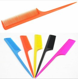 Wholesale Fine Candies - 5 pcs lot Hair Salon Fashion Pointed Tail Comb Candy Color Hairdressing Combs Hair Styling Care Tools