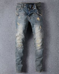 Wholesale Long Jumpsuit Ripped - Famous Brand Designer Men Jeans Ripped Jeans Blue Rock Star Mens Jumpsuit Designer Denim Male Pants 8863