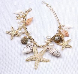 Wholesale Vintage Rhinestone Starfish - 2016 Fashion Conch Starfish Shell Bracelet Necklace Bling Rhinestone Boho Necklace For Women Vintage Nature Stone Necklace E785E