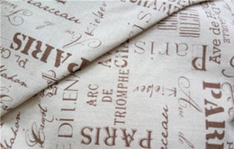 Wholesale Decorative Curtain Fabric - Wholesale linen cotton zakka fabric Greek Paris letter pattern decorative wallpaper curtain sofa diy manual arts or crafts sold by yard